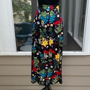 Vintage 90s Highwaisted Button Front Floral Skirt